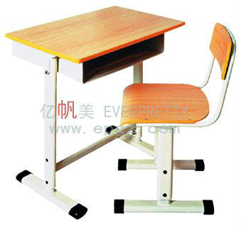 used preschool furniture children study writing desk / adjustable wood top study table & chair set with steel frame