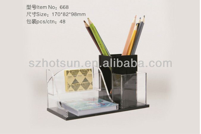 Fashion acrylic pencil box with custom brand