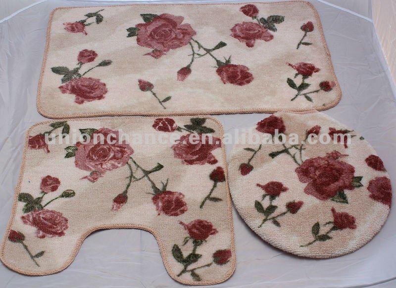 3 pcs rose rose tapis de bain tapis de bain ensemble - Tapis De Salle De Bain Rose