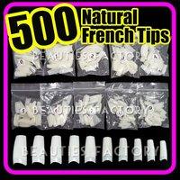 015 500 NATURAL FRENCH FALSE NAIL TIPS Acrylic UV Gel