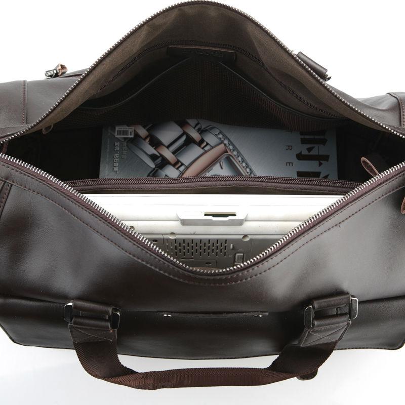 fashion men leather bag large capacity leather travel luggage bag