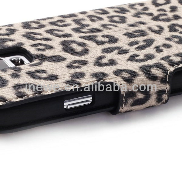 For Samsung Galaxy S5 i9600 Leopard Grain Wallet PU Leather Cover with Stand