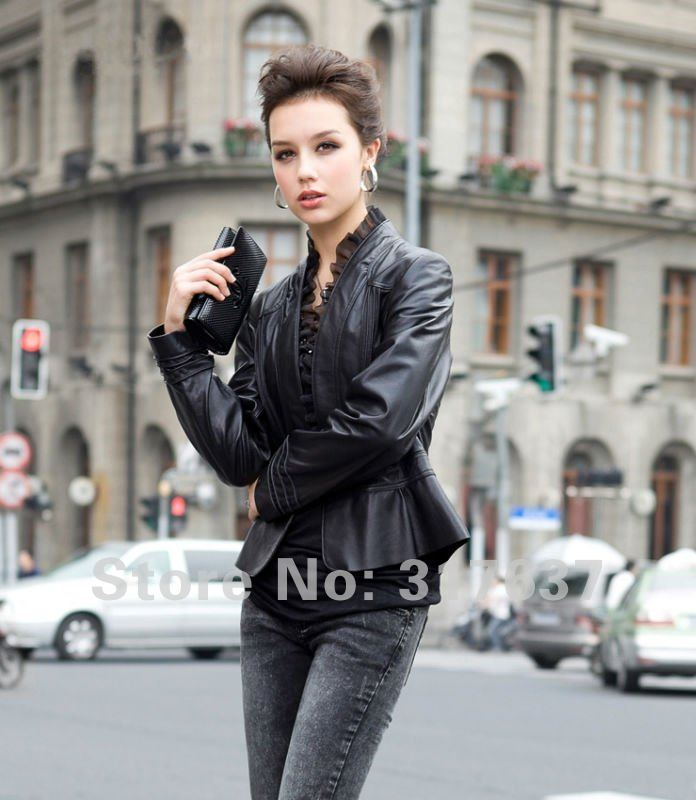 Free Shipping 2012 Spring New Arrival Ladies' Genuine Lamb Leather Slim Coat With Silk Rim#11119