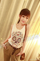 Женская футболка High Quality Black/White Sexy Skull Print T-Shirt Tank Pop Fashion O-Neck Sleeveless Cotton Top Tees 650620
