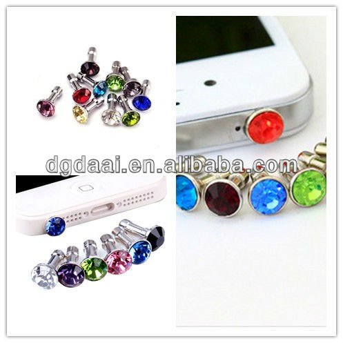 Cute crystal dust plug anti dust plug for phone phone dust plug