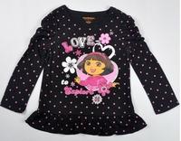 Комплект одежды для девочек Spring 3pcs pink vest + black shirt + bow pant Baby girl DORA printed set /kid cartoon clothing set/baby girl set