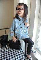 Куртка для девочек girls coat spring &autumn double breasted soft denim cloak baby cloak girls denim outerwear
