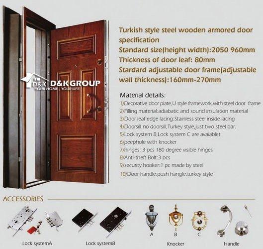 Villa turque style acier bois blindé porte d'entrée