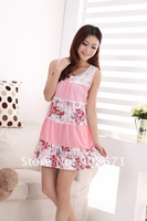 dresses new fashion 2012 pajamas female summer nightgown sexy circle brought bud silk sleeveless vest nightgown