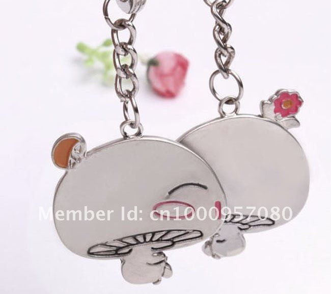 Factory Price-Cute Magic Mushrooms Little Lover Keychain Buckle Promotional Gift 1 Pair / Retail & Wholesale/ Free Shipping
