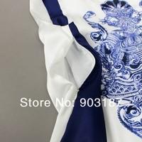 Женское платье Catwalk Models Women's New Blue and White Porcelain Printed Pleated Silk Sleeveless Slim Dress