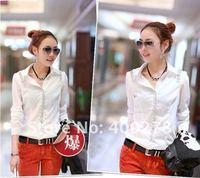 2012   Long sleeve shirt Set head butterfly shirt  Free shipping  Chiffon blous  Women's Clothes Long sleeve blouse C1018