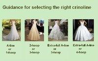 Free Shipping Wedding Dress Crinoline Bridal Petticoat Underskirt  2 Hoops with Chapel Train,Adjustable White  /PVG-001