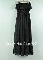 free shipping 2012  new women chiffon behemia style maxi tube top beach dress, black/red Quality Guaranteed