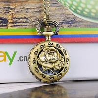 Карманные часы на цепочке Fashion Jewlery Rose Hollow Antique Bronze Steampunk Cute Fashion Pocket Watch 19322 Z