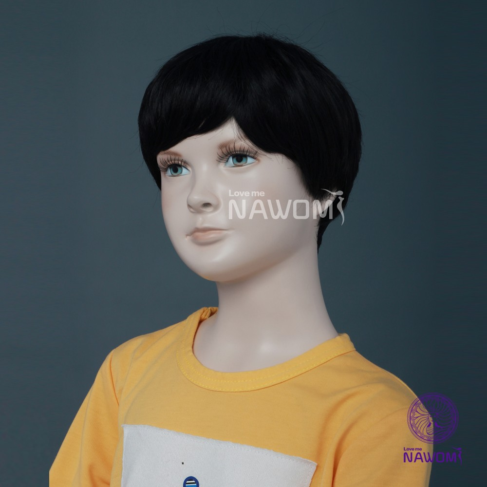 10.16cm cheap black color dolly hair and unisex kids wigs online making supplies-5
