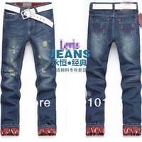 Мужские джинсы BT-play Slim Men's Jeans Pants 109 straight leg broken hole men jean trousers