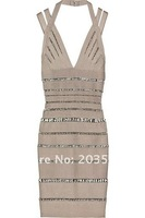 Free shipping 2012 New arrival  Women's  Noble sexy crystal  Bandage v-necklace    Dress  HL Cocktail Evening Dresses  HL131