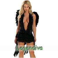 Женский эротический костюм Holiday Sale 4 Styles Sexy Black Angel Gothic Cosplay Halloween Adult Costume Fancy Dress Clubwear One Size