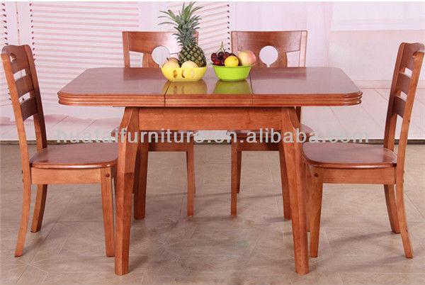 Plegadora mesa comedor y sillas de comedor de madera maciza ...