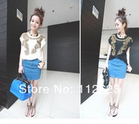 Женская футболка 2013 new fashion Gold plate flower nail bead bat sleeve short sleeve T-shirt
