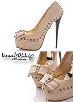 Туфли на высоком каблуке New Fashion Women's Sexy Platform Pump Stiletto Bowknot Rivets Studded Pink/ Apricot Slim Super High Heel Shoes