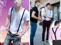 Подтяжки Clip-on Adjustable Unisex Pants Y-back Suspender Braces Black Elastic1460