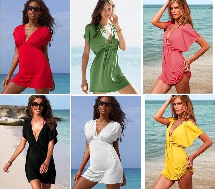 Женская туника для пляжа Women'S Elastic Ice Silk Material Beachwear Beach Dress, Bikini Blouse Outside WD01