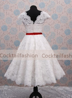 Custom Made Short Sleeves Lace A line White Wedding Dresses Bridal Dresses Beach Wedding Gowns