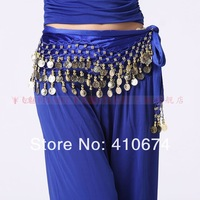 New Style  Free Shipping belly dance dancing velvet three rows 128 coins hip scarf wrap belt dance wear costume