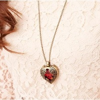 Колье-цепь USD, Can Mixed Order! Vintage Red Angel Wing Heart Necklaces. NL160001