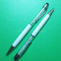 1pcs&Free Shipping Crystal 2 In 1 Metal Stylus Touch Pen Ink For HTC/Samsung P6200 i9300/iPad/iPhone
