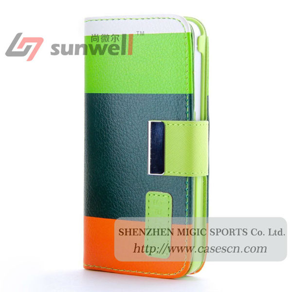 Factory hot selling pu wallet leather case for iphone 5 5s