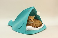Лежанка для кошек fish mouth collapsible felt cat house pet bed cat litter sofa for cat home Pillow mat