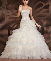 Свадебное платье Organza Strapless Bridal Wedding Dress 2012 custom size&color