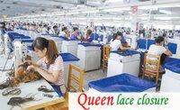 """Волосы для наращивания Queen lace closure 100% ,  5 x 5"""",   blenched , #1b ptc"""