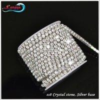 Стразы для одежды LY11975 Rhinestone chain ss8 Crystal rhinestone Silver base, 10yards/roll/lot Garment accessories