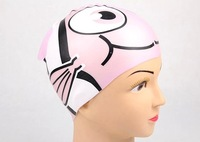 6pcs/lot silicone cartoon kid swiming cap fish design 1 size for all 2-8 years old style mix