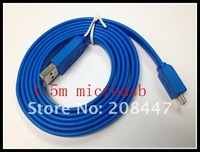Blue 5F 1.5M Micro USB Data Sync Charger Flat Cable for Nokia Samsung LG HTC Phones