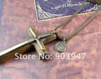 Цепочка с подвеской Handmade vintage wood Cross Crosses big pendant Necklace leather 2013 for womens men's jewelry long fashion hip hop nke-h90