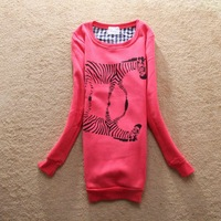 Корейский/Японский новые женщины случайный долго Толстовки/пуловеры, Женская куртка дамы o шеи случайные мило балахон, 4colors/x 2207