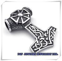 тяжелые старинные 316l нержавеющей стали крест Тора молот подвеска байкер мужчин с ожерельем из натуральной кожи, p #142