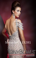 Hot Selling Free Shipping One Shoulder Sleeve Beads Sexy Mermaid Only Fishtail Elegant Prom Dress Evening 2012 Fashion Skirt