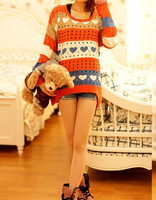 2013 New Spring and Autumn hollow mixed colors hit the color loose sweater