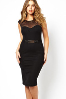 Вечернее платье 100% Brand New Women's Sexy Dresses/Curve Belted Midi Dress with Ruched Mesh, LC6190