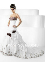 Свадебное платье 2014 Popular Rose Flowers Sweetheart Wedding Dress Red And White