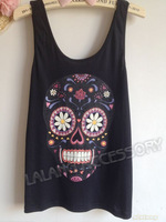 Женский топ New Fashion Women's Tanks Tops Length 56cm Elastic Cotton Print Skull Pattern Camisole Vest Waistcoat 1pcs/lot 650621