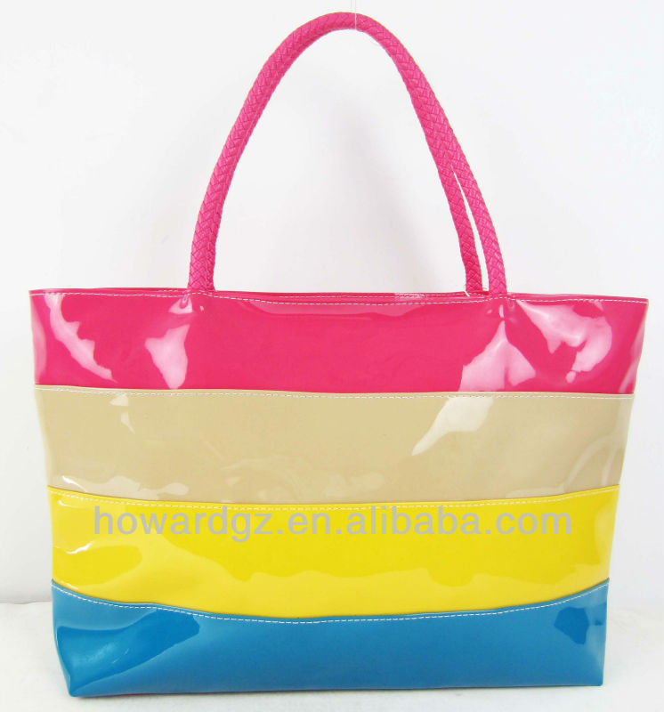 patent leather travelling bag