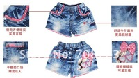 Джинсы для девочек Girls bull-puncher knickers mickey flower children jeans hot pants elastic cowboy cotton