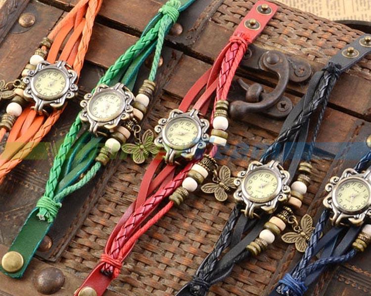 FSSB0021A-F 7 Colors Original High Quality Women Genuine Leather Watches Bracelet butterfly Pendant wristwatch wooden watch